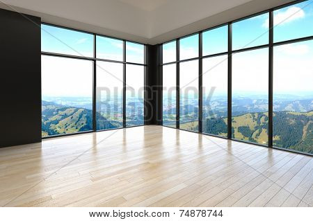 3d Rendering of Simple Empty Architectural Room with Glass Window Designs for Overlooking Outside View.