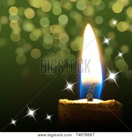 Burning Candle On Abstract Color Background