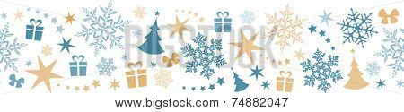 Flat border design with Christmas and winter symbols that will tile seamlessly horizontally. Great for decoration.