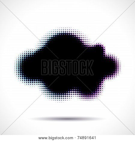 Halftone cloud shape with color aberrations