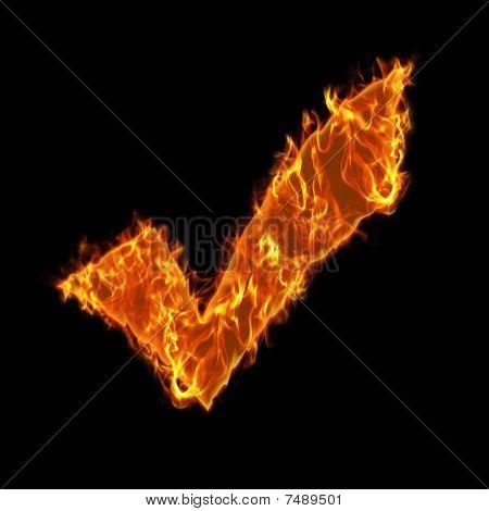 Burning check symbol