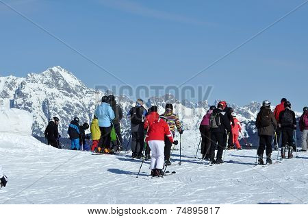 Skiers On The Piste In Kitzsteinhorn Ski Resort, Austria