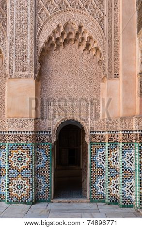 The Marble Craft Of Building At Medersa Ben Youssef In Marrakesh
