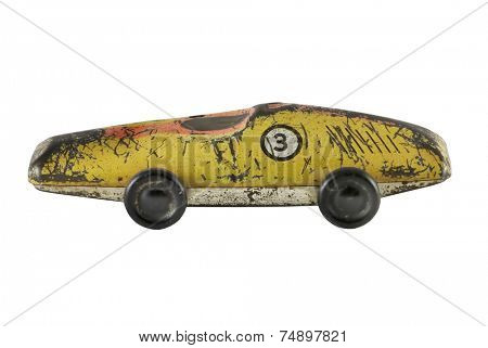 old toy car on white background