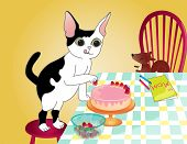 A kitten decorating a strawberry cake for his mother on the dining table. poster