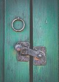 Retro Filtered Photo Of A Rustic Door Latch poster