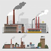Industrial factory buildings set in flat design style poster