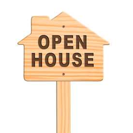 Open House Sign, Clipping Path.