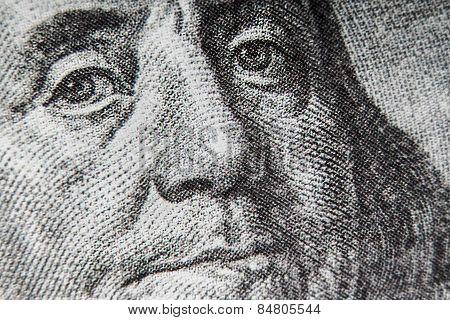 Macro Of 100 Dollar Bill With Benjamin Franklin Portrait