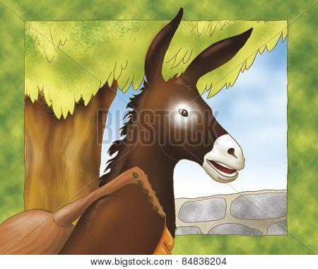 Donkey with balalaika,  fairy tale.