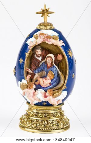 Hand painted Christmas nativity ornament