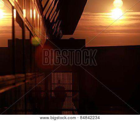 building facade backlit