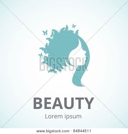 Abstract Logo Woman's Face In Profile