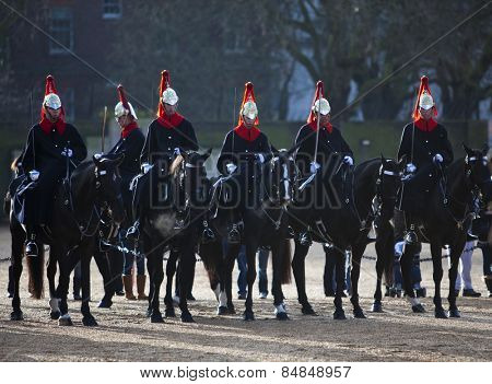LONDON, ENGLAND DEC 21: Famous mounted Blues and Royals on Parade on December 21st, 2012 in London, United Kingdom.