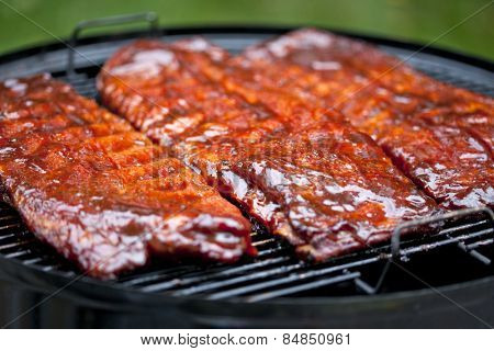 St Louis style BBQ ribs glazed in sauce