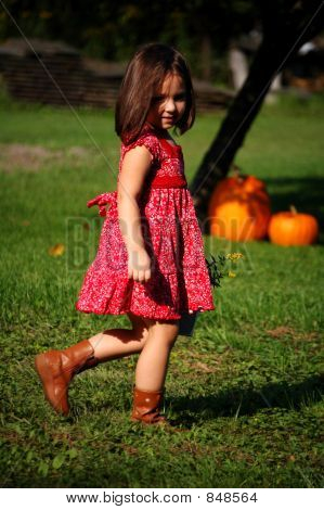Country Girl with Pumpkins
