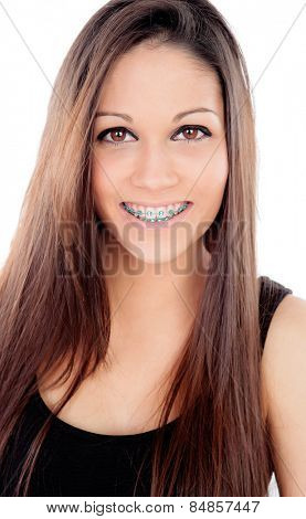 Attractive smiling girl with brackets isolated on a white background