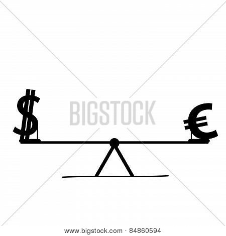 Euro And Dollar Teeter Vector