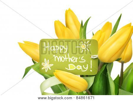 Mather's Day holiday spring yellow tulips flower bunch with greeting card. Beautiful tulip flowers bouquet isolated on white background. Springtime