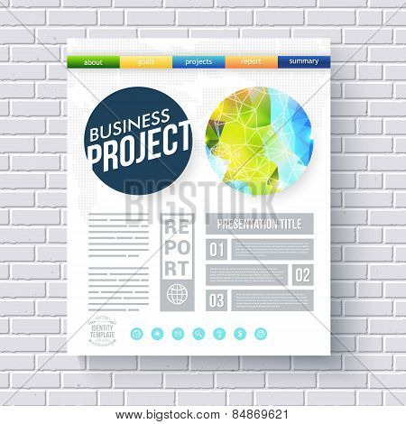 Business project design template for ecological projects with a fresh blue and green abstract design in a circle with a network overlay, editable text in numbered boxes and category header, vector poster