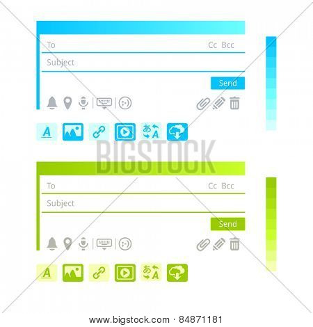 Message icons, infographics and color schemes