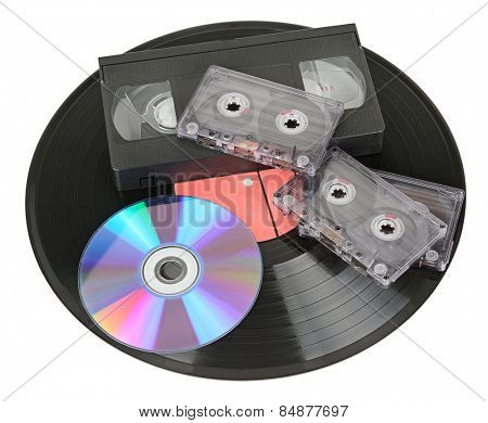 various storage media isolated on white background
