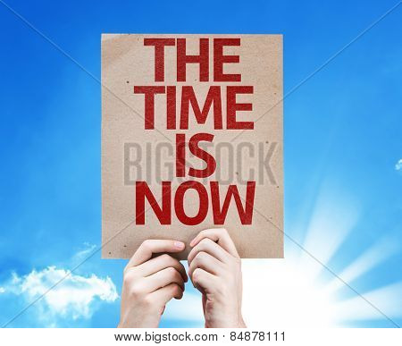 The Time is Now card with sky background