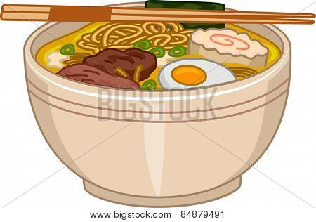 Illustration of a Bowl of Ramen With a Pair of Chopsticks Resting on Top