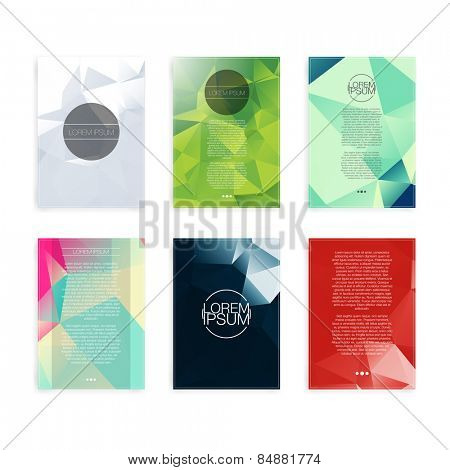 Set of Abstract Flyer Geometric Triangular Abstract Modern Backgrounds - EPS10 Brochure Design Templates poster
