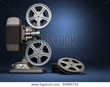 Video, cinema concept. Vintage film movie projector and reels on blue background. 3d