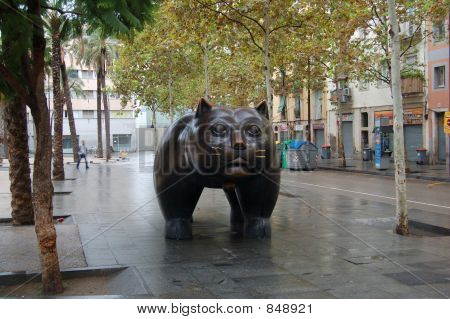 poster of Cat, sculpture,centre,Barcelona,Catalunya,Spain,place,tree,palm,birch,morning,Sunday,China,town,modern,art