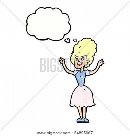 cartoon happy 1950's woman with thought bubble