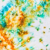 abstract stains of batik painted on white silk close up poster
