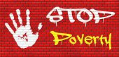 stop poverty give and donate to charity giving a helping hand graffiti on red brick wall, text and hand poster
