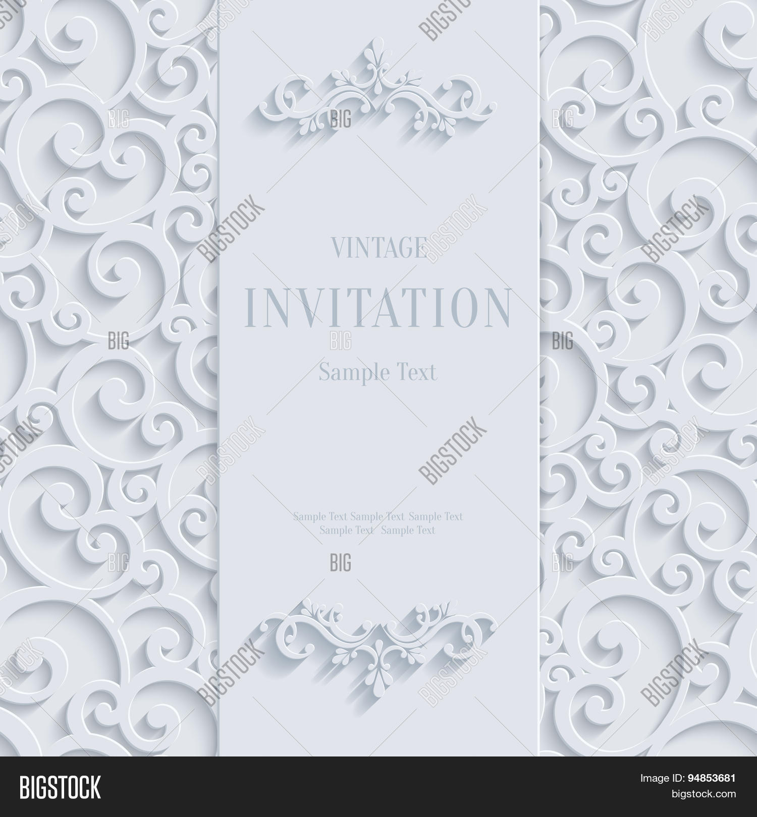 Vector white 3d vector photo free trial bigstock vector white 3d vintage invitation card with swirl damask pattern stopboris Image collections