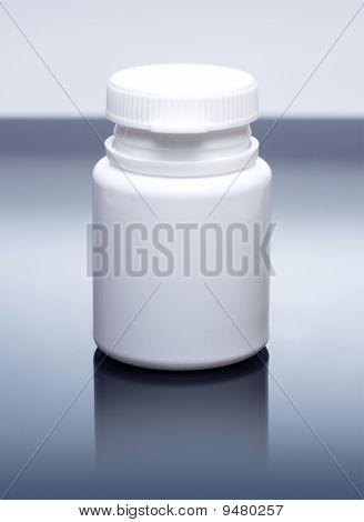 White medicine bottle closed