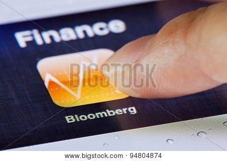Macro image of running Bloomberg app on an iPad