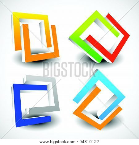 Interlocking Colorful U Shapes. Generic Icons, Design Elements. Four Versions.