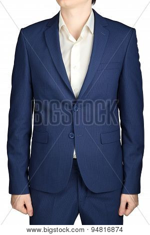 Navy Blue In Small Checkered Formal Suit Coat Men, Isolated On White Background.
