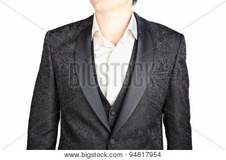 Closeup Black Pattern Wedding Suits Blazer Groom, Isolated On White.