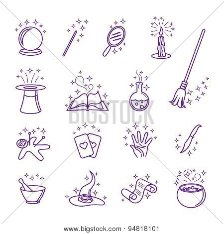 Vector magic icons in line style