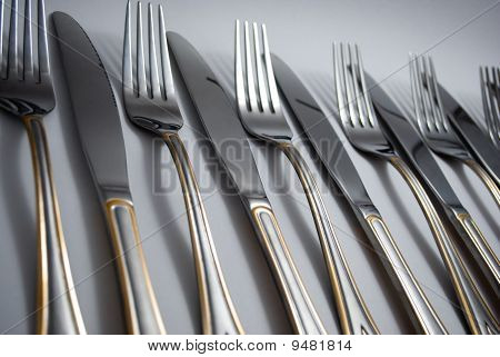 Metal knifes and forks