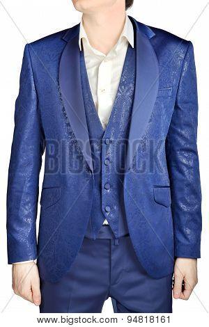 With Blue Vegetable Patterned Jacquard, Unfastened Suit Coat Wedding Groom
