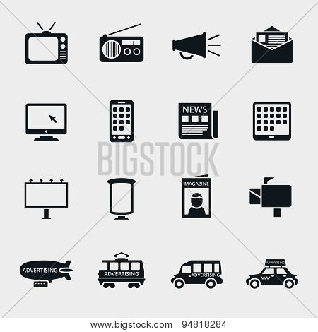 Vector advertising media silhouette icons