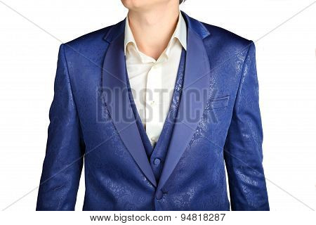 Close-up Of Suit Blazer With Blue Patterned Jacquard Fabric