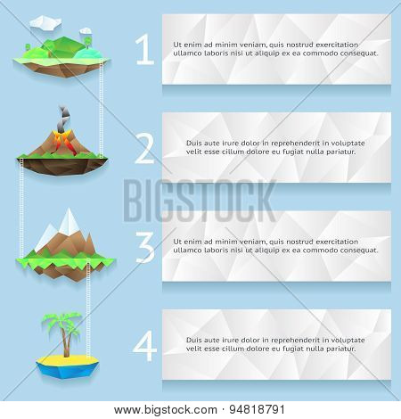 Low poly islands with steps and numbers infographics