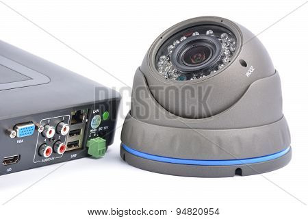 Digital Video Recorder and video surveillance dome cameras. poster