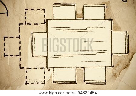 Freehand watercolor and ink floor plan illustration fragment of a wooden dining room standard table