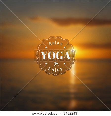 Yoga poster with a blurred photo background