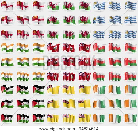 Sark, Wales, Uruguay, India, Bermuda, Oman, Western Sahara, Niue, Cote D'ivoire. Big Set Of 81 F